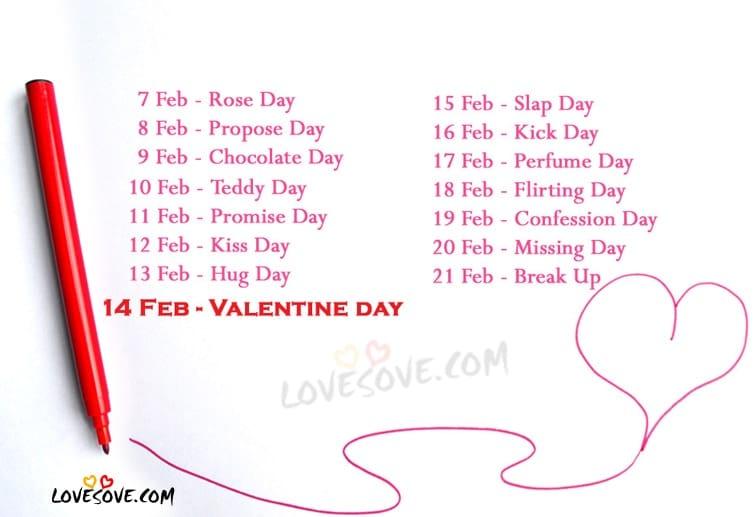 DATE SHEET OF VALENTINE WEEK 2017