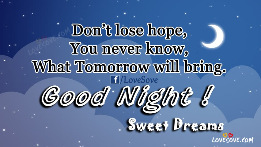 Don't lose hope - Best Good Night Sweet Dreams Quotes Images
