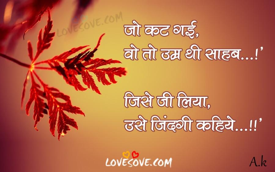 Best Zindagi Shayari Images In Hindi For Facebook, Zindagi Shayari Image In Hindi For WhatsApp Status, Jo Kat Gai - Life Thought Quotes Images In Hindi