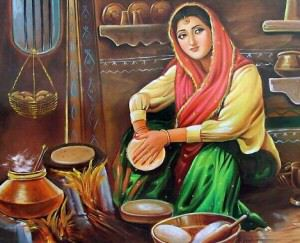 Lady Baking Roti
