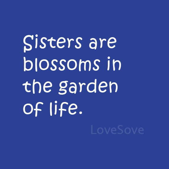 Sister are blossoms - Quote For Sister Images, Hindi Shayari For Sister (Behan), Best Status on Sister, Sister Sms Quotes A Very Good Thought, Best English Quotes, beautiful english quotes, positive thinking, great life thought thought-on-sister-lovesove