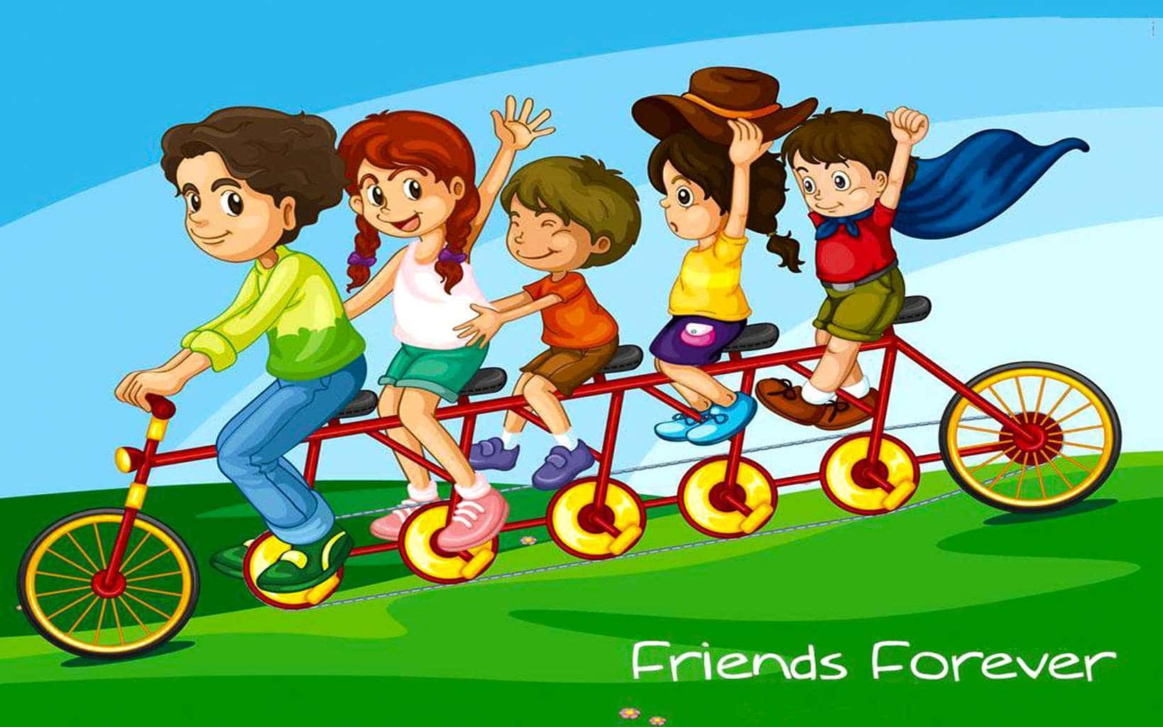 Friends Forever And Together On Cycle
