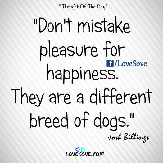 Don't mistake pleasure for happiness - Good Thought Of The Day