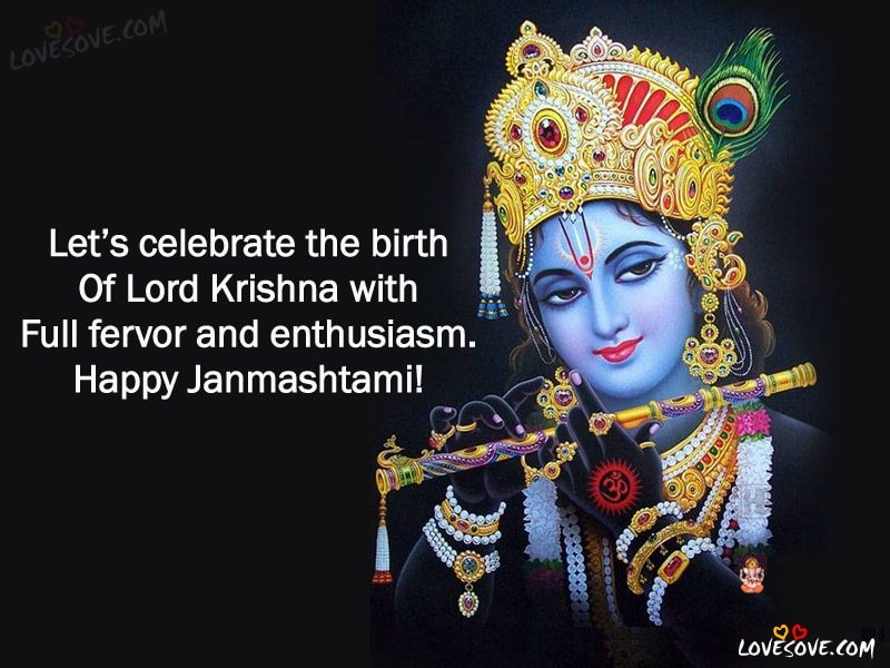 2 Line Happy Janmashtami Quotes, Status In English