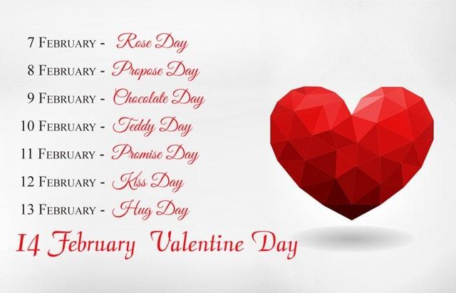 Date Sheet Of Valentine Week 2020