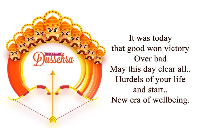 Happy Vijaya Dashami Wishes in English, Short Dussehra Msg for your friends & family, Best Dasara Msg about Ravan 2019