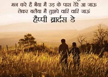 हैप्पी ब्रदर्स डे शुभकामनाएँ, National Brother's Day Hindi Shayari Images
